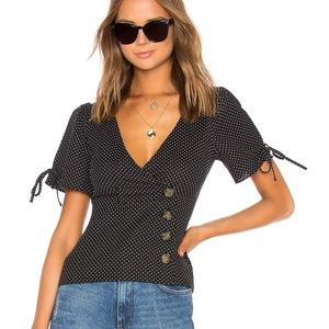 LPA FITTED BUTTON UP TOP W/ PUFF SLEEVES